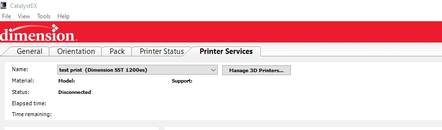Printer Services Tab CatalystEX on how to find Stratasys Service Documents