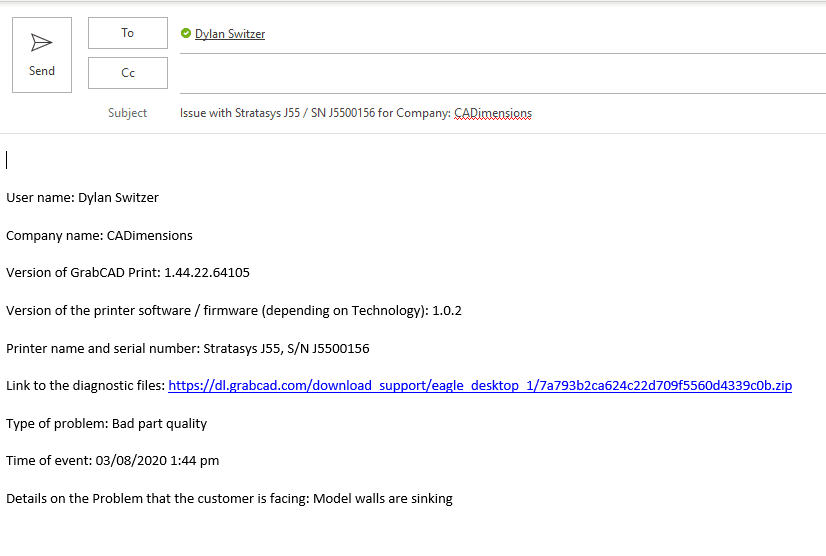 Auto-populated service email when finding Stratasys Service Documents